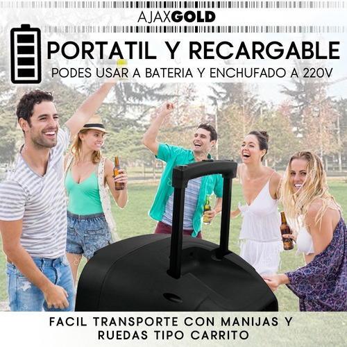 parlante karaoke 12 portatil bluetooth microfono led