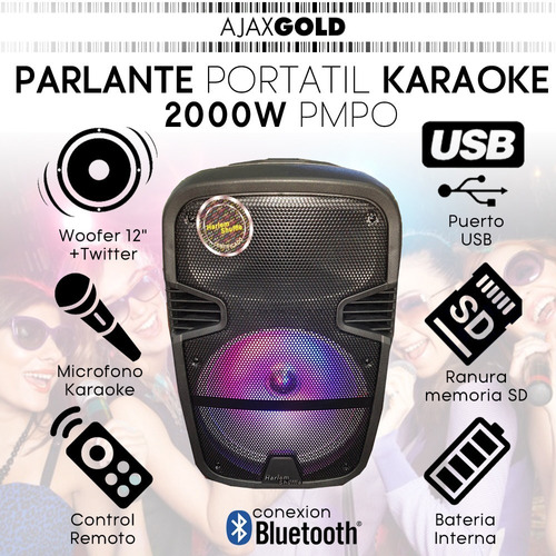 parlante karaoke 12 portatil bluetooth microfono luces led