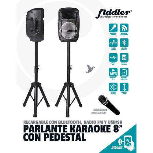 parlante karaoke bluetooth con pedestal fiddler fd-1238