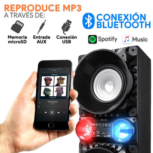 parlante karaoke bluetooth torre fm usb+ mic + lámpara disco