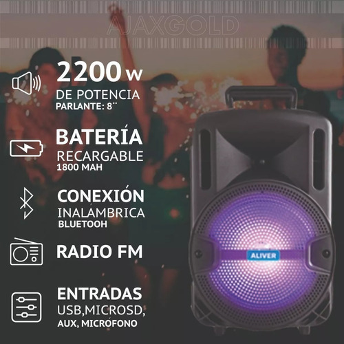 parlante karaoke bluetooth usb microsd aux luces + microfono