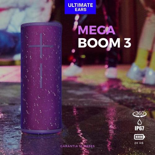 parlante logitech mega boom 3 sonido 360° agua 20 hs violeta
