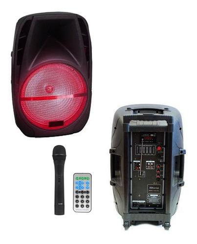 parlante + microfono inalambrico + conex usb/sd radio luces