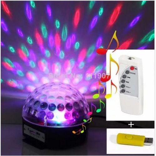 parlante mp3 usb con luces sicodelicas led magic ball bola