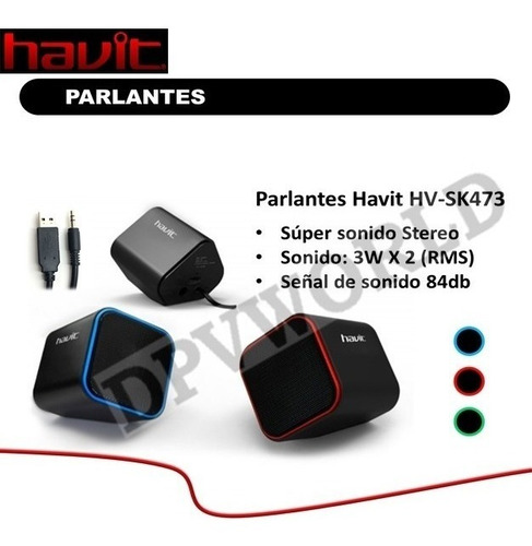 parlante pc laptop havit hv sk473 usb 3.5mm musica juegos