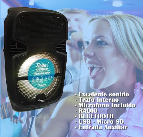 parlante portatil 12  bateria bluetooth radio mic acid plus