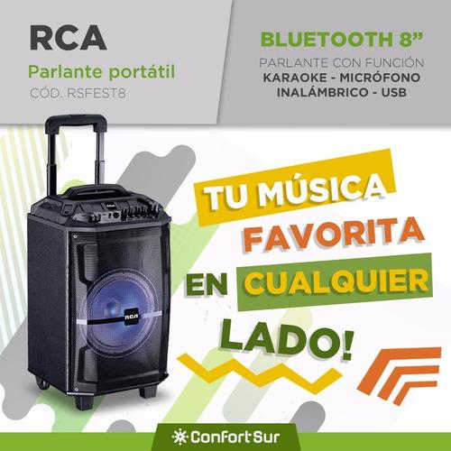 parlante portátil 1500w rca + microfono inalámbrico karaoke