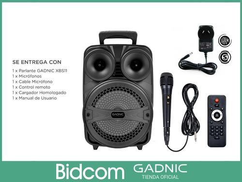 parlante portatil bluetooth gadnic karaoke luz mic usb mp3