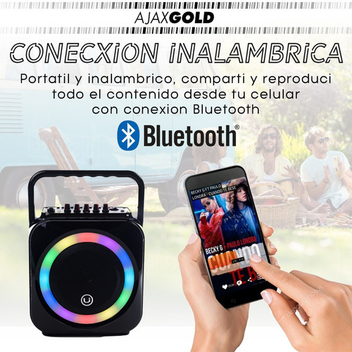 parlante portatil bluetooth karaoke luces microfono 25 watts