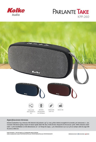 parlante portatil bluetooth kolke take radio usb sd kpp260