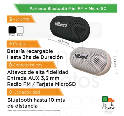 parlante portatil bluetooth mini billboard micro sd radio fm