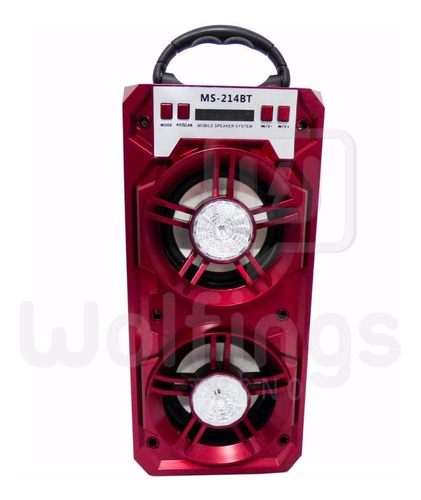 parlante portatil bluetooth ms-214 bt luces radio fm