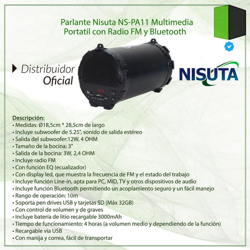 parlante portatil bluetooth nisuta radio fm usb sd subwoofer