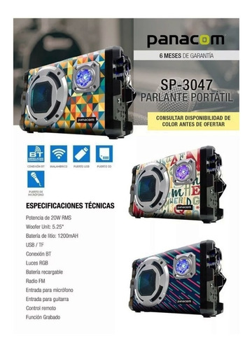 parlante portatil bluetooth panacom sp 3047 lines