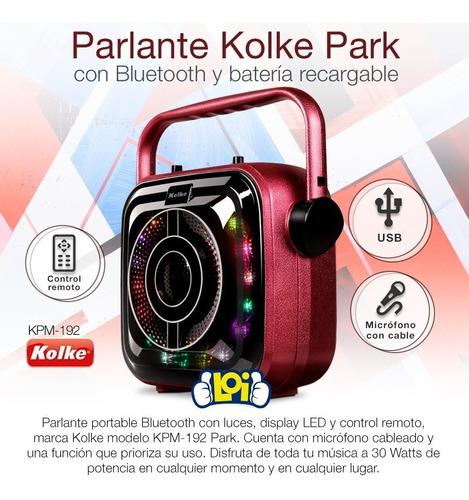 parlante portátil bluetooth park led karaoke batería mic loi