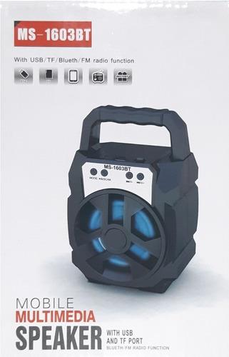 parlante portatil bluetooth speaker, usb-memoria, fm ms-1603