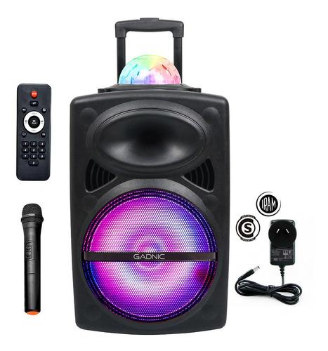 parlante portatil bluetooth trolley + mic karaoke luz led