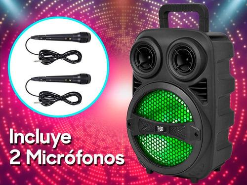parlante portátil bluetooth usb luces led  + micrófono