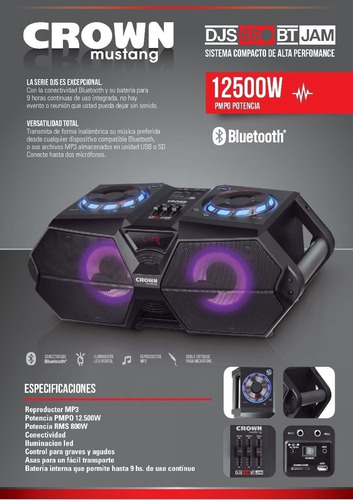 parlante portatil crown mustang djs-650bt bluetooth 800w