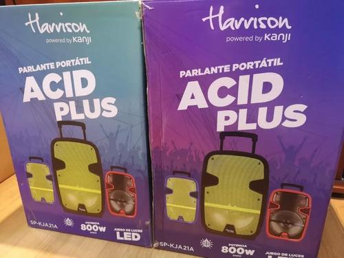 parlante portátil harrison 800w acid plus black body + micro