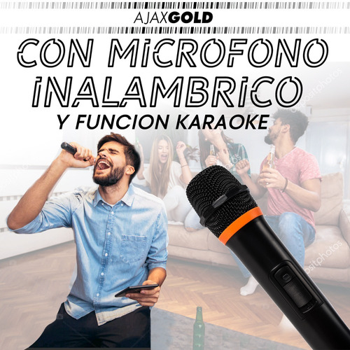 parlante portátil karaoke 12 bluetooth led rgb 3000w + mic