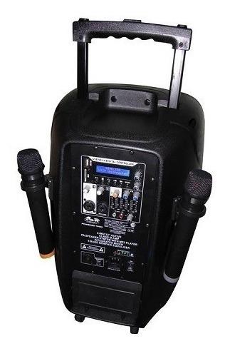 parlante portatil karaoke bateria mp3 400w rms 2 mic 15 pulg