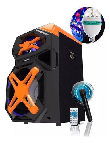 parlante portatil karaoke + luz led panacom 3414 2500w
