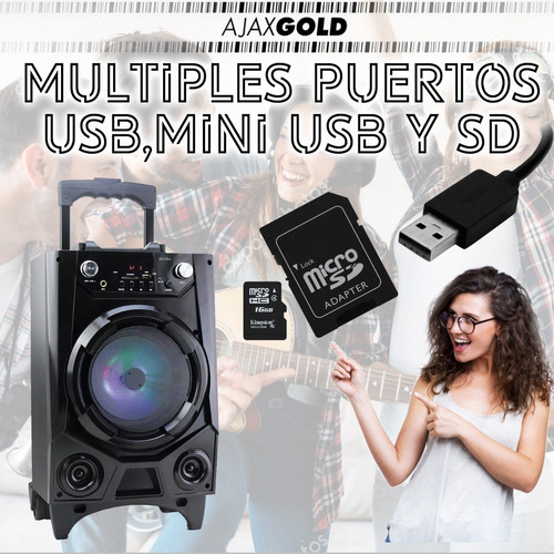 parlante portatil karaoke recargable usb 60w luz led + microfono