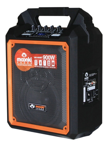 parlante portatil moonki sound microfono sd rca 900 watts