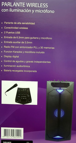 parlante portatil radio usb bluetooth potencia 4000w karaoke