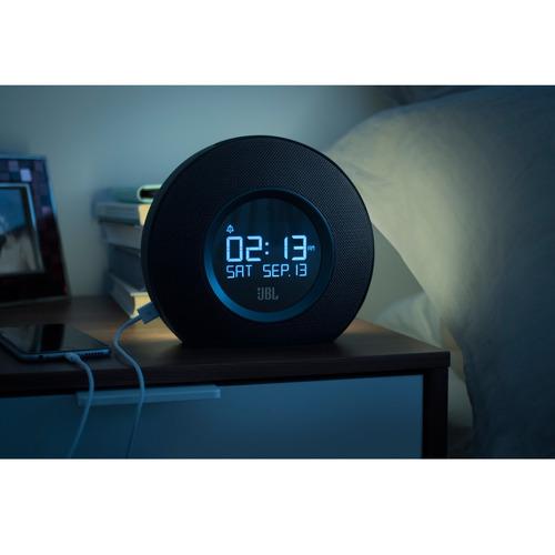parlante radio reloj despertador bluetooth jbl horizon negro
