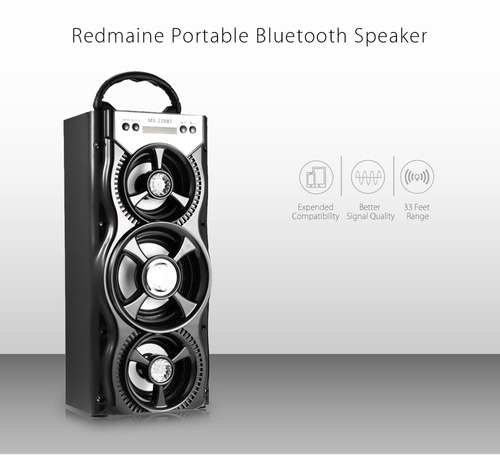 parlante redmaine ms - 220bt portátil con bluetooth radio fm