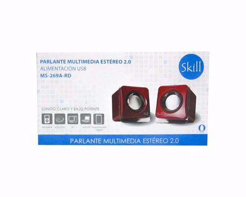 parlante skill 2.0 con jack 3.5 mm / usb pc laptop
