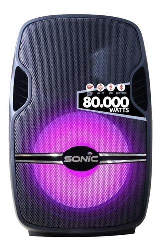 parlante sonic 80 000 watts radio bluetooth usb sd pedes-mic