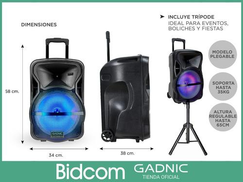 parlante trolley carrito portable bluetooth + tripode y mics