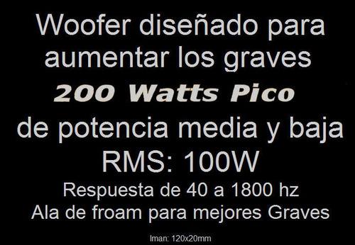 parlante woofer 6.5 pulgadas 200 watts 6 ohms ala de froam