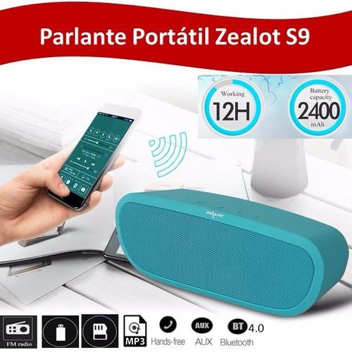 parlante zealot s9 2400mah,mp3,bluetooth 4.0,usb,sd,radio fm