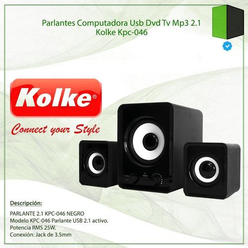 parlantes 2.1 kolke kpc-046 subwoofer usb ctrol volumen 25w