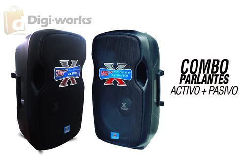 parlantes activa + pasiva ax gratis pedestal y mic inc iva