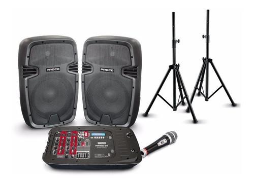parlantes amplificados portable proco 210 bluetooth + atril