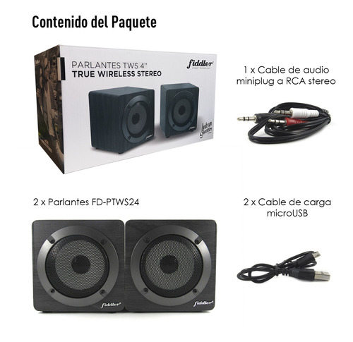 parlantes bluetooth fiddler true wireless stereo 4 pulgadas