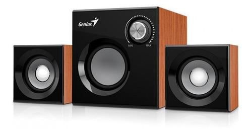 parlantes de madera 2.1 con woofer y control de volumen