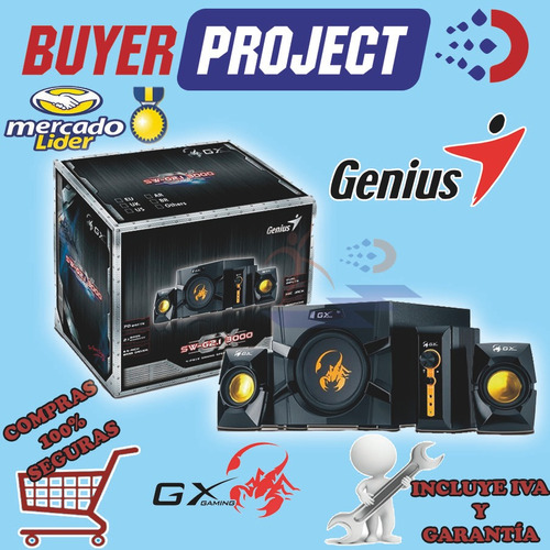 parlantes genius sw-g2.1 3000 70w para pc, xbox, tv, dvd ps2