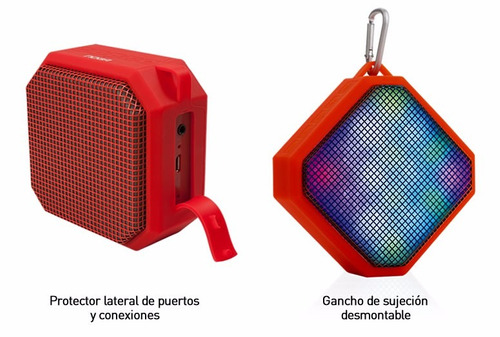 parlantes mini bluetooth manos libres cubo con led noga ofic