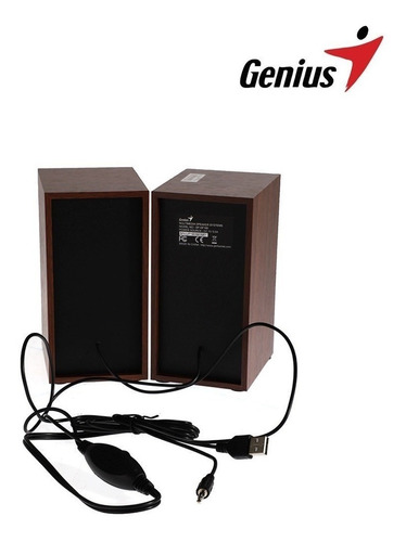parlantes para pc genius sp-hf180 madera conexion 3.5mm/usb