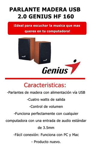 parlantes pc genius sp-hf160 2.0 usb madera notebook