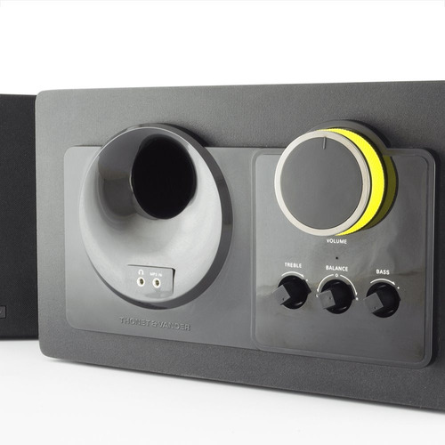 parlantes thonet & vander 2.1 potente caja de madera premium