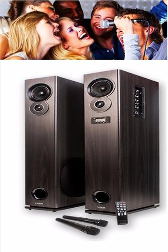 parlantes track karaoke 2 mic dj usb sd remoto cons stock