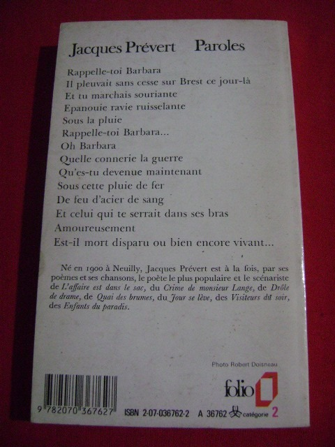 Paroles Jacques Prevert