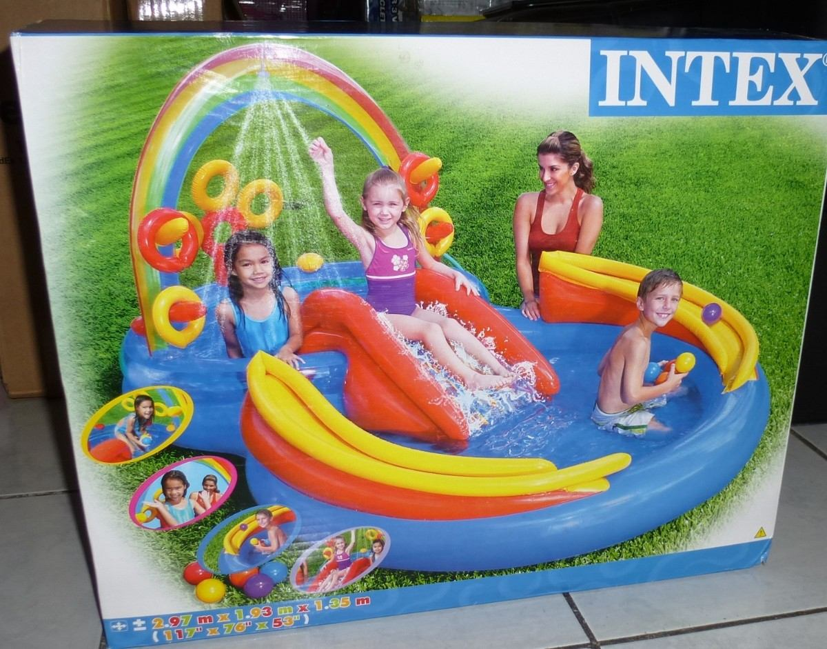 parque acuatico alberca inflable arco iris intex para
